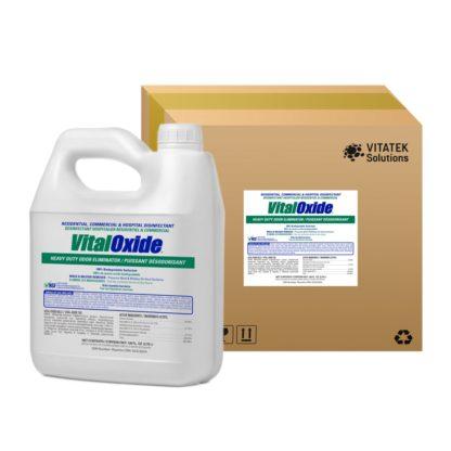 1 Gallon bottle of Vital Oxide disinfectant shown beside a Vital oxide case/